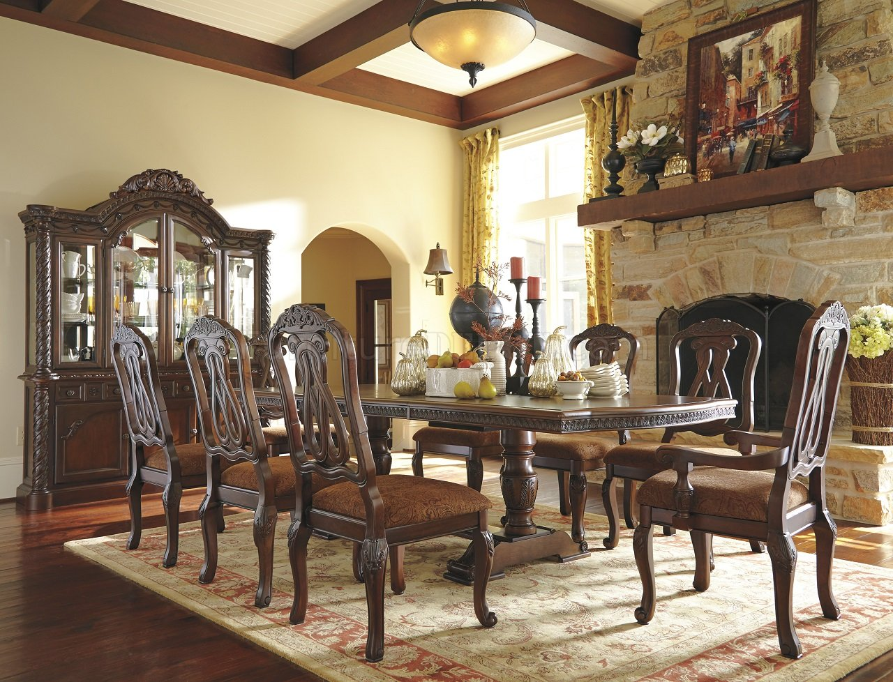 North Shore Dining Table D553 55 Dark Brown By Ashley