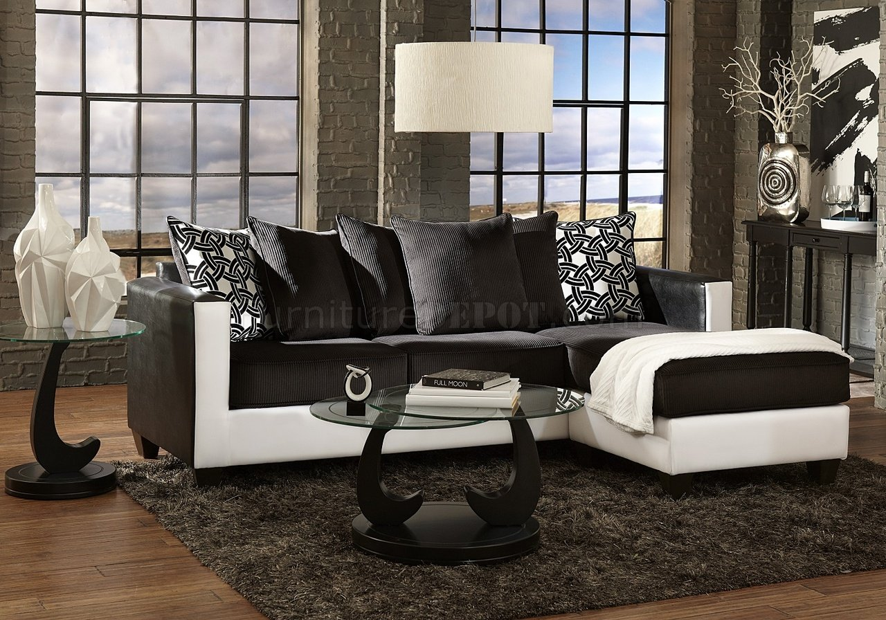 3001 sectional sofa in black white