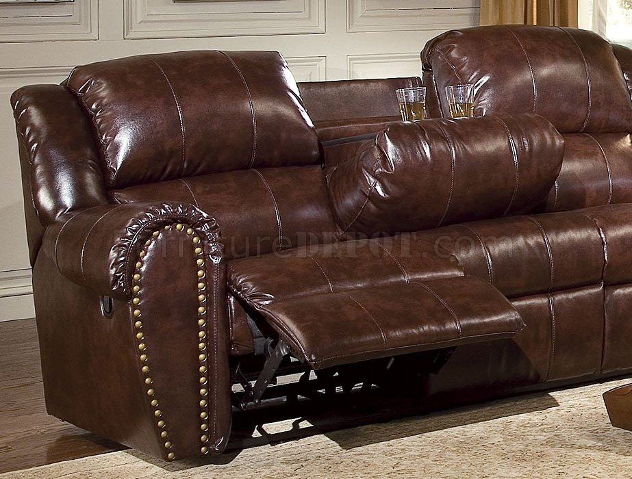 Cognac Brown Bonded Leather Sofa & Chair Set w/Reclining Seats on Cognac Leather Headboard  id=54835