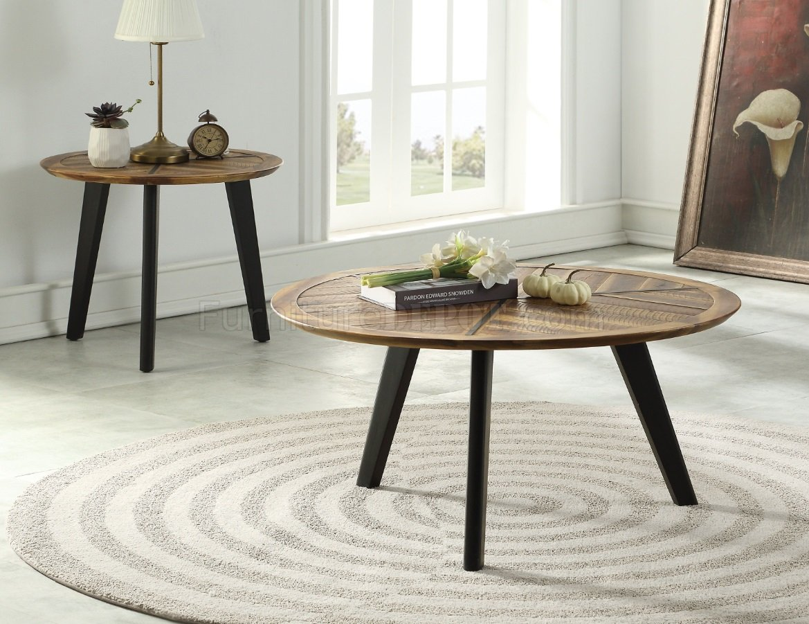 Brynn 3pc Coffee End Table Set 81260 In Oak Espresso By Acme