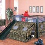 Camouflage Tent Modern Bunk Bed W Ladder Slide