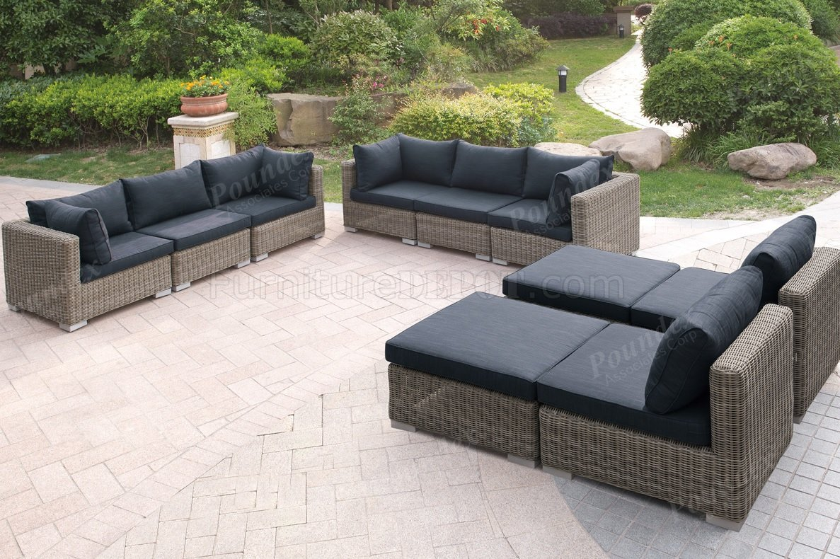 421 Outdoor Patio 10Pc Sectional Sofa Set by Poundex w/Options on Outdoor Loveseat Sets  id=87583