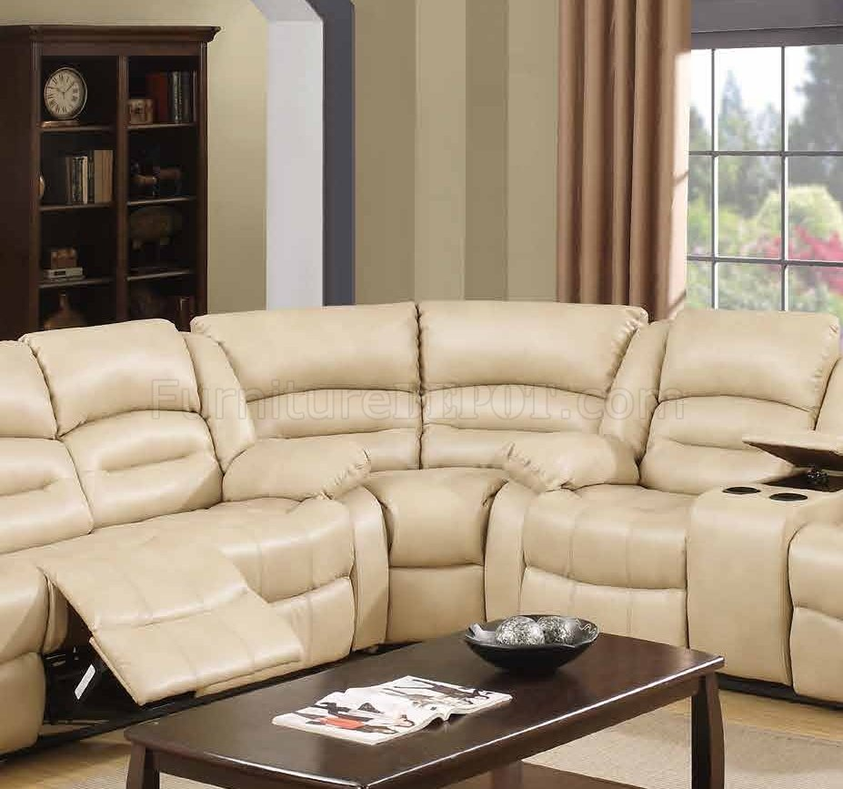9243 Reclining Sectional Sofa In Cream Bonded Leather W
