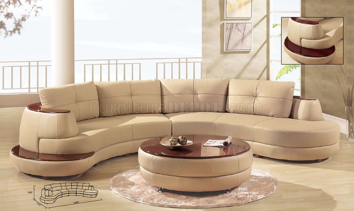 Beige Leather Modern Sectional Sofa W Cherry Wooden Shelf