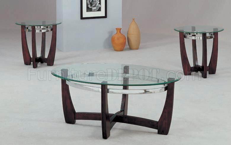 Cherry Finish Modern 3Pc Coffee Table Set WGlass Top