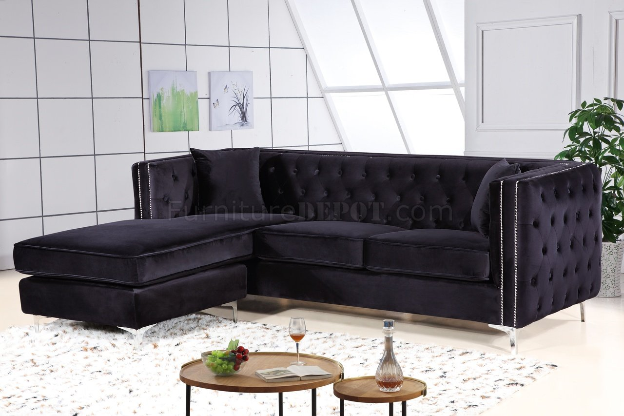 jesse sectional sofa 668 in black