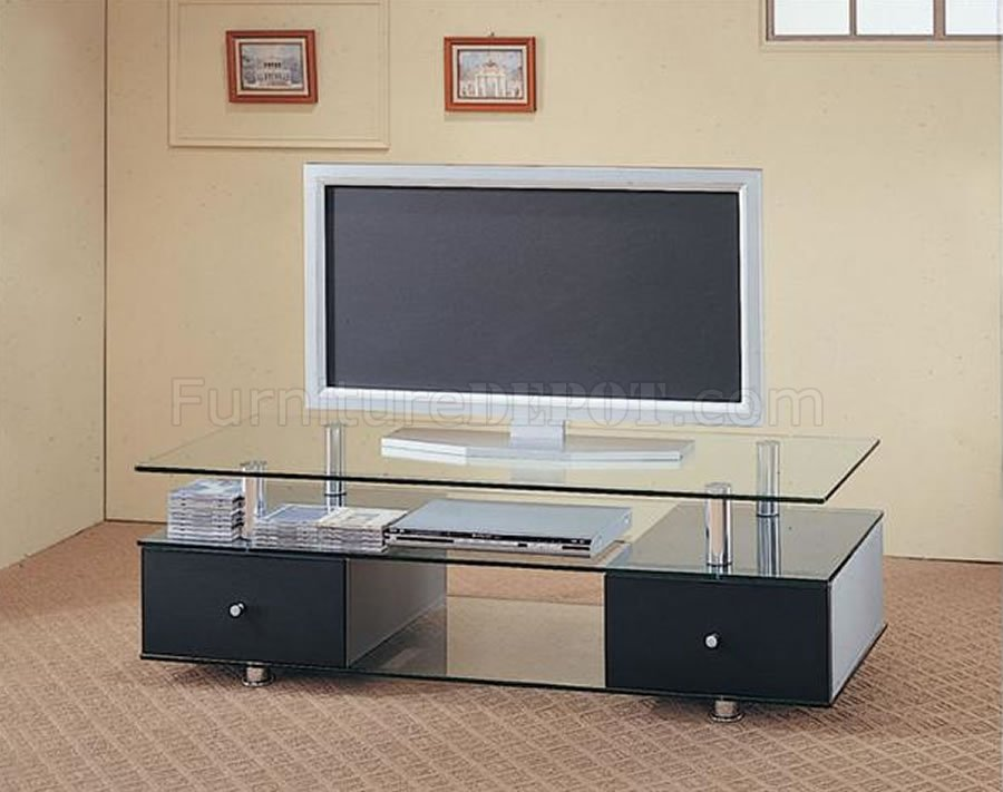 Contemporary Tv Stand W Glass Bottom And Base
