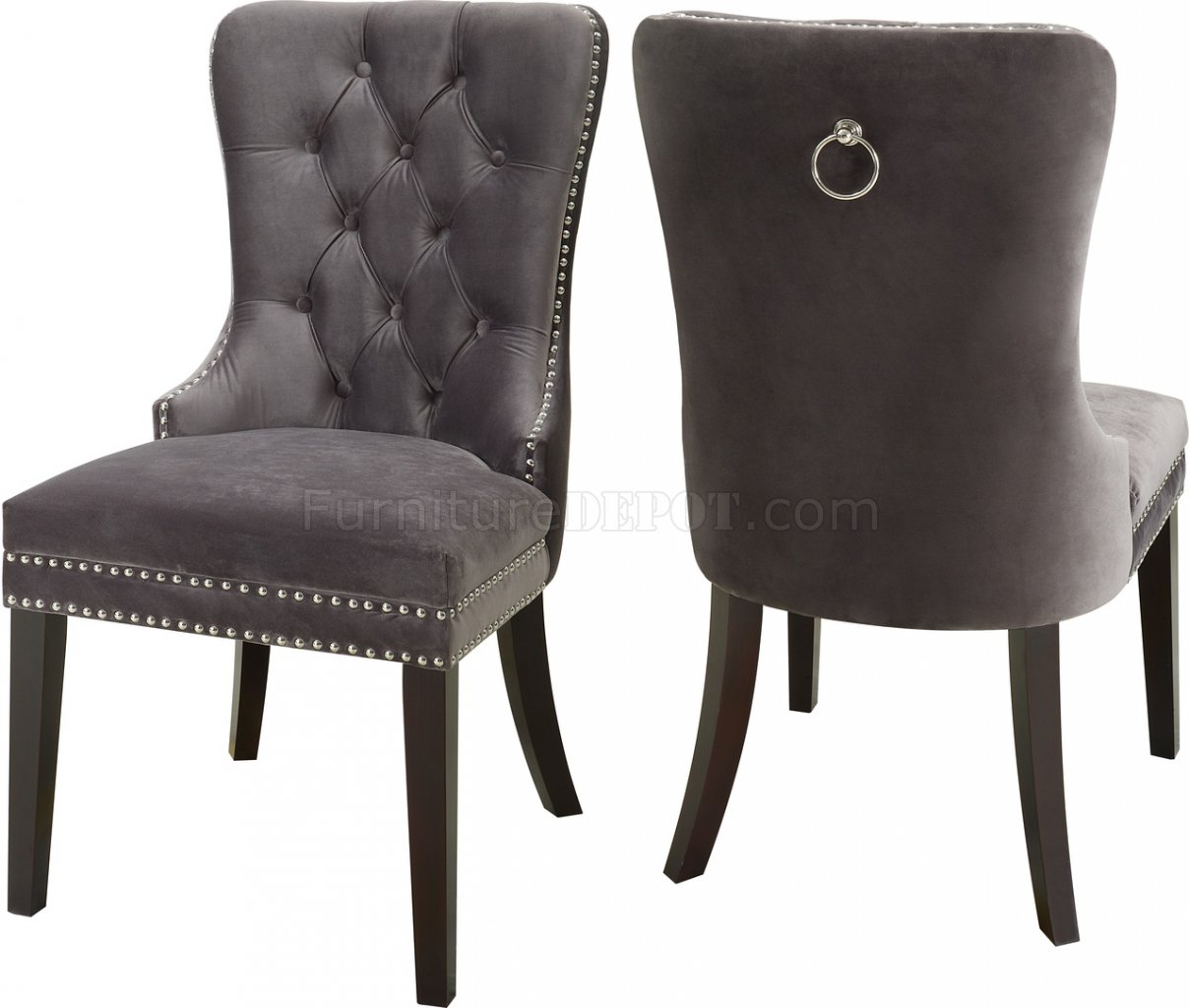 Nikki Dining Chair 740 Set Of 2 Grey Velvet Fabric By Meridian