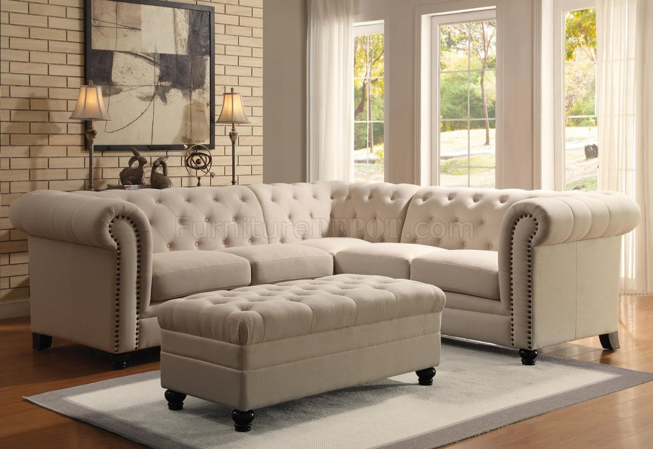 Roy Sectional Sofa 500222 Oatmeal Linen Blend Fabric By Coaster