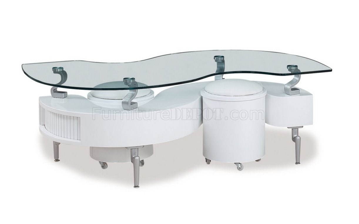 s shape coffee table 3pc set in white
