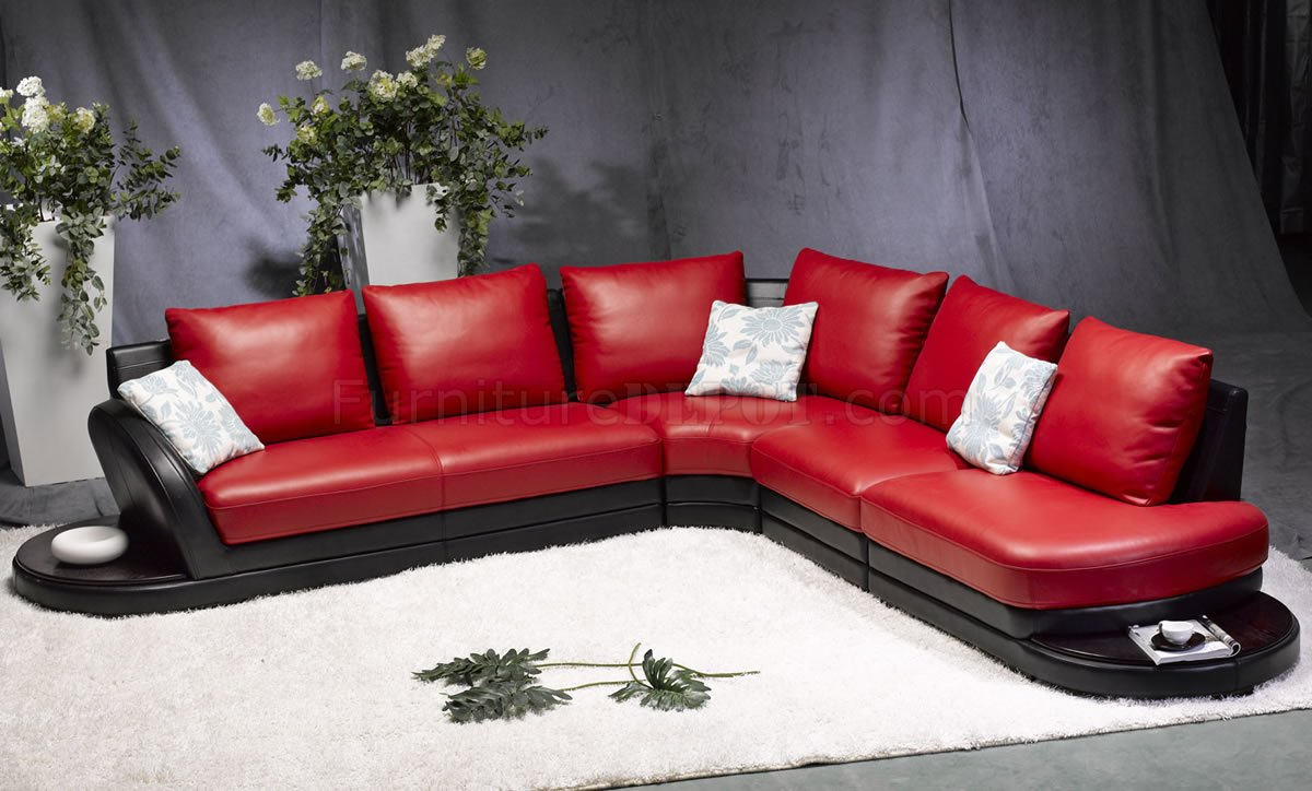 Variety of modern furniture for your home or office. Red & Black Leather Modern Two-Tone Sectional Sofa