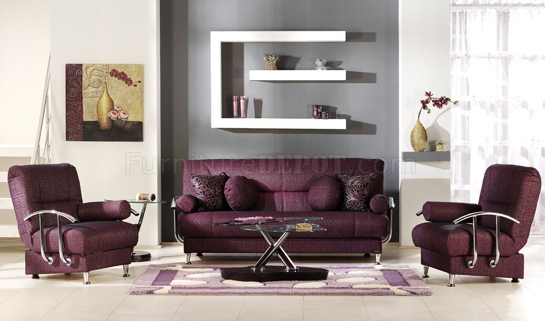 Stylish Living Room with Storage Sleeper Sofa in Burgundy Fabric