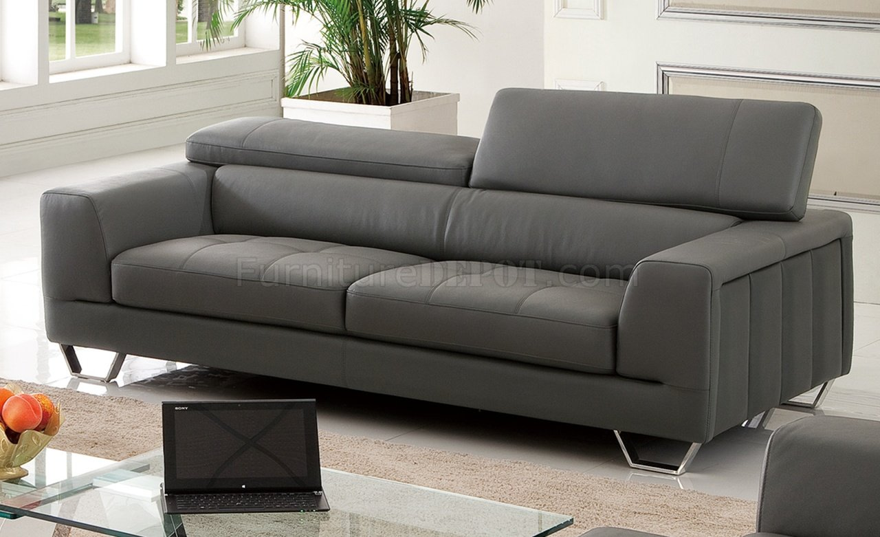 S879 Sofa In Dark Gray Leather By Pantek WOptions