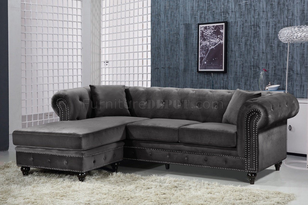 Sabrina Sectional Sofa 667 In Grey Velvet Fabric By Meridian