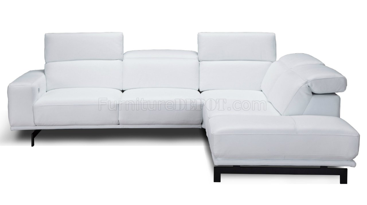 Davenport Sectional Sofa In Snow White Leather By J M