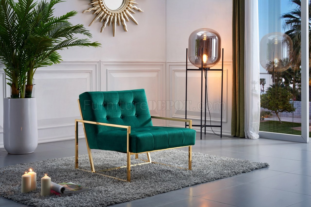 Pierre Accent Chair 523 In Green Velvet Fabric By Meridian