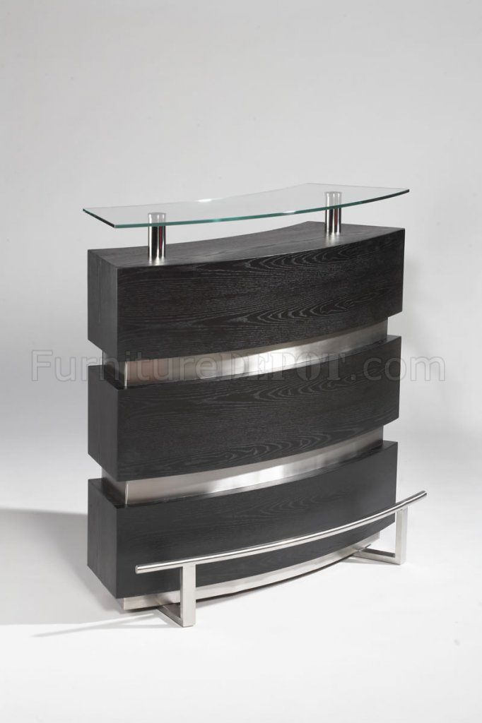 Gloss Black Amp Silver Tone Modern Bar Unit WGlass Top