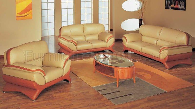Orange And Beige Leather Living Room Set