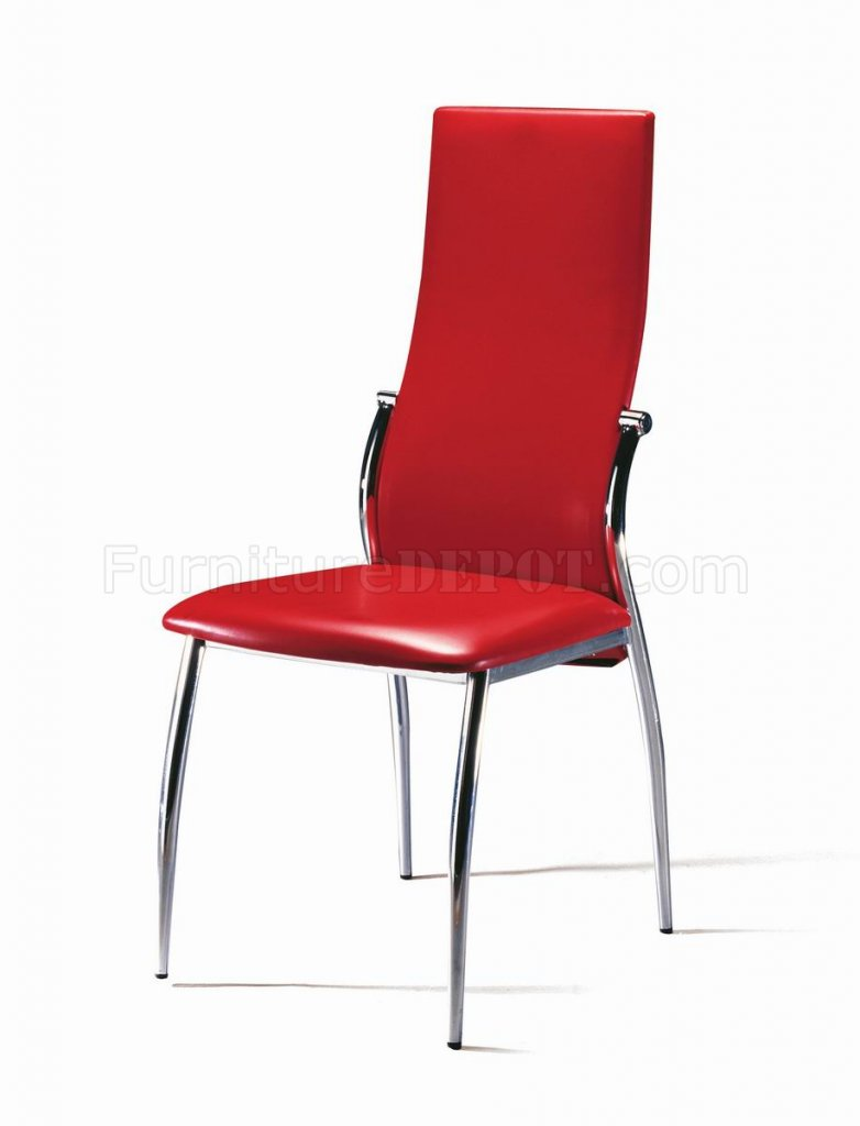 Set Of 4 Red Leatherette Modern Dining Chairs
