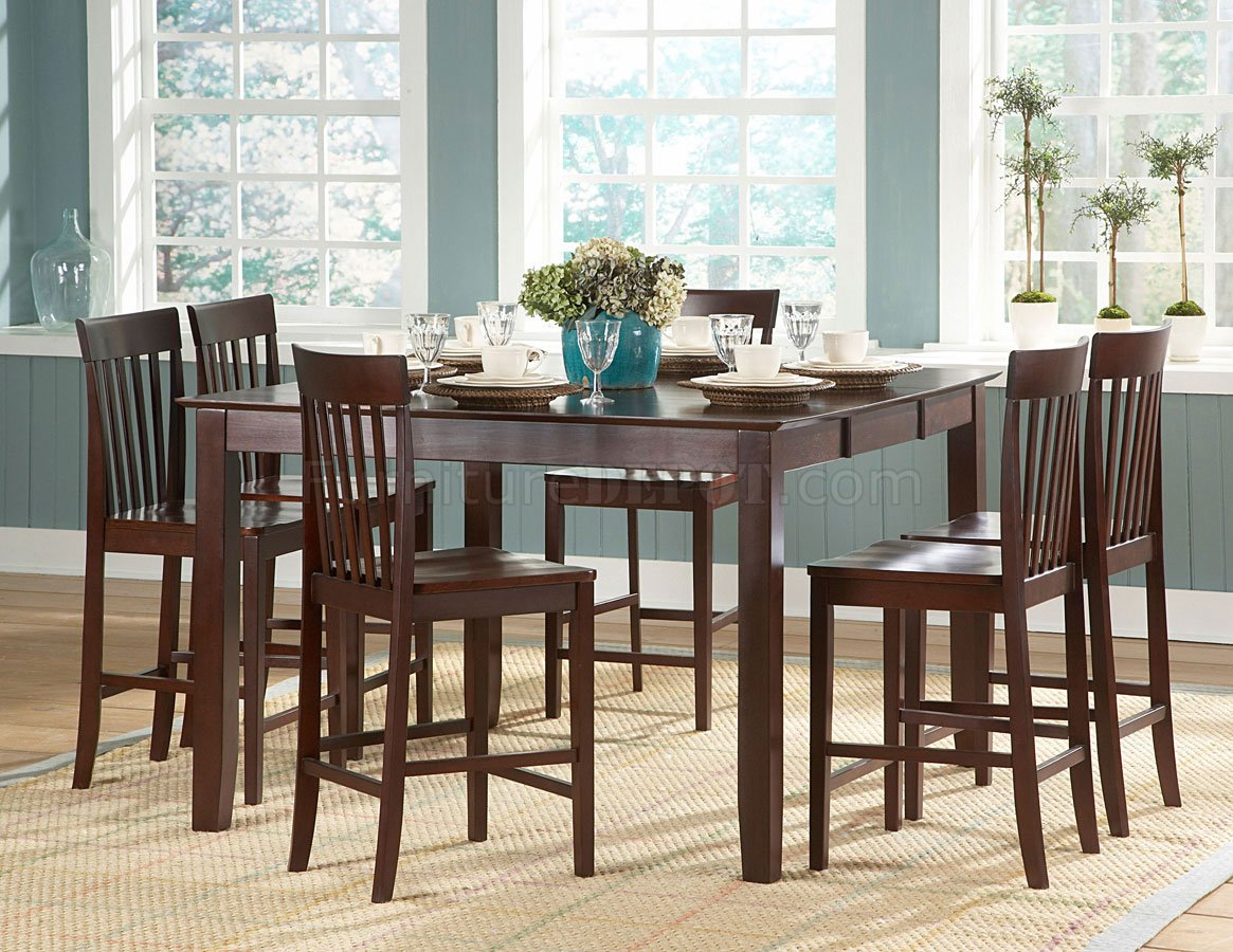 Warm Cherry Finish Modern Counter Height Dining Table WOptions