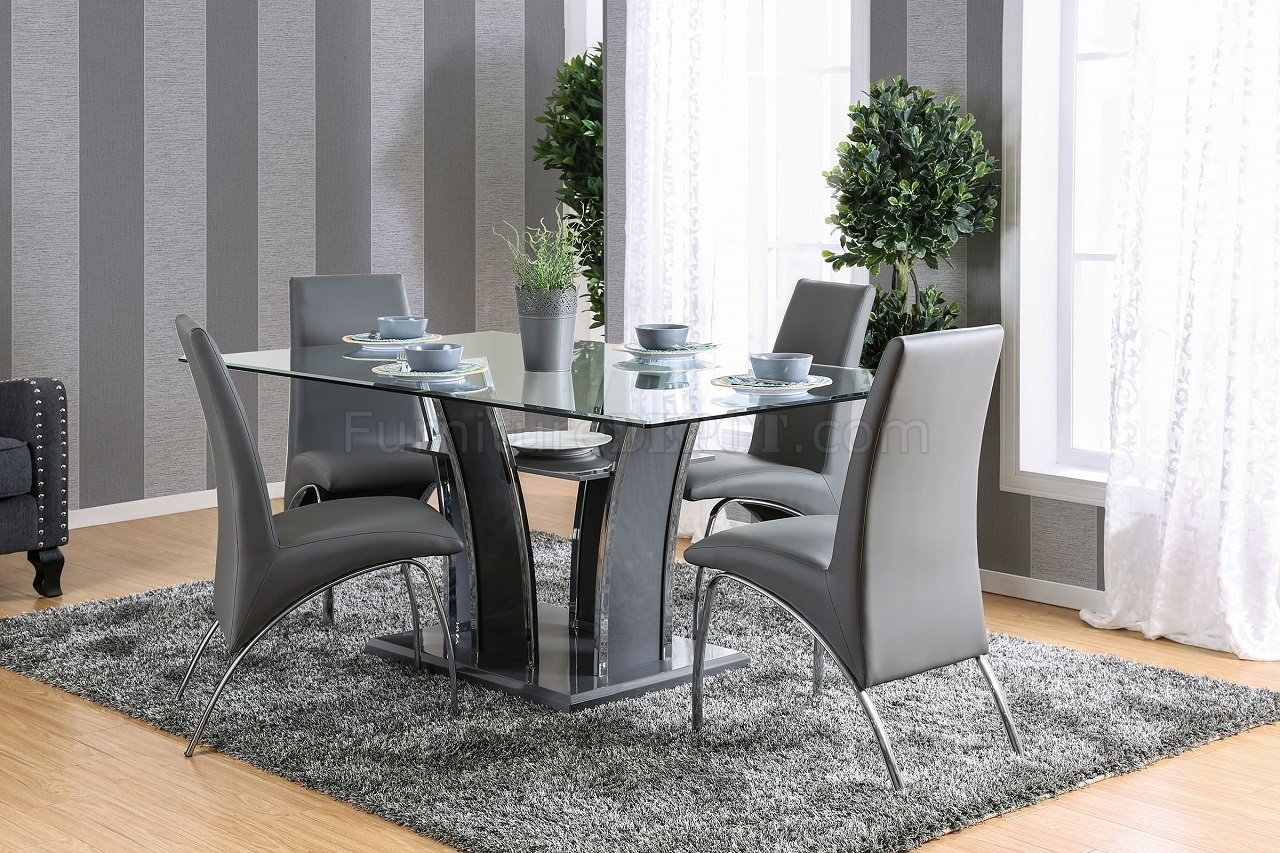 Glenview I CM8372GY 5PC Dinette Set In Gray Amp Chrome WOptions