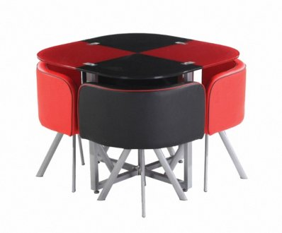 Red Amp Black Two Tone Modern 5Pc Dining Set WGlass Top