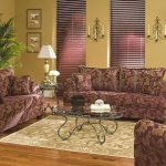 Rust Colored Fabric Contemporary Living Room W Contrasting Welt