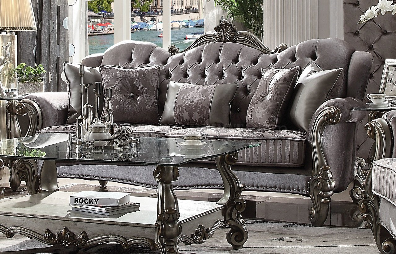Versailles Sofa 56840 In Silver Velvet Amp Antique Platinum