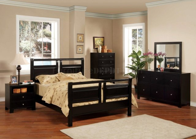 Black Finish Modern 5Pc Bedroom Set w/Queen or Full Bed