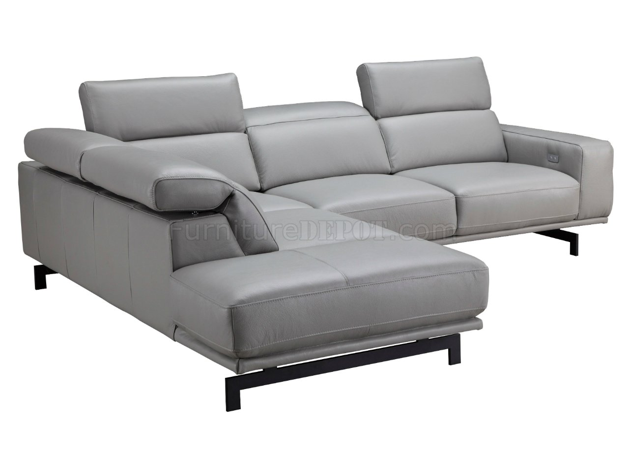 Davenport Sectional Sofa In Light Gray Leather By J M
