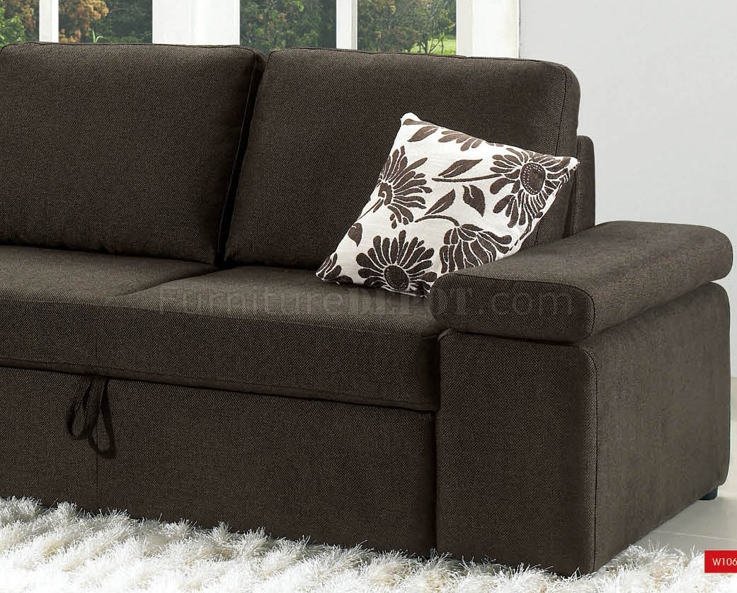 Charcoal Brown Fabric Modern Sectional Sofa WPull Out Bed