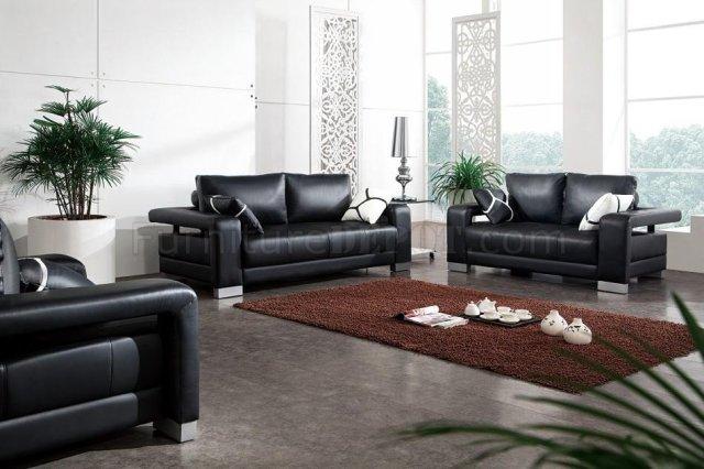 Black Leather Modern 3PC Living Room Set w/Pillows