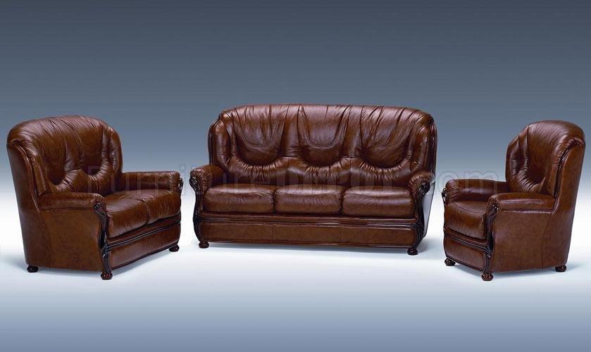 Full Top Grain Italian Leather 3 Piece Living Room Set