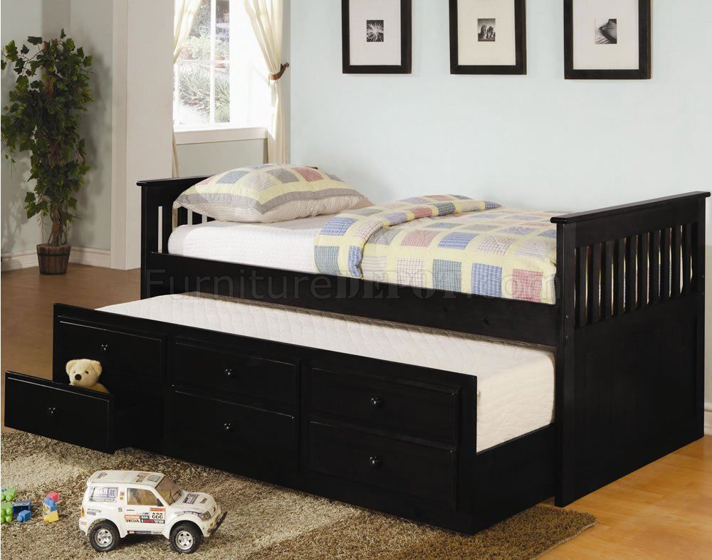 Black Finish Contemporary Daybed WTrundle Amp Storage Drawers