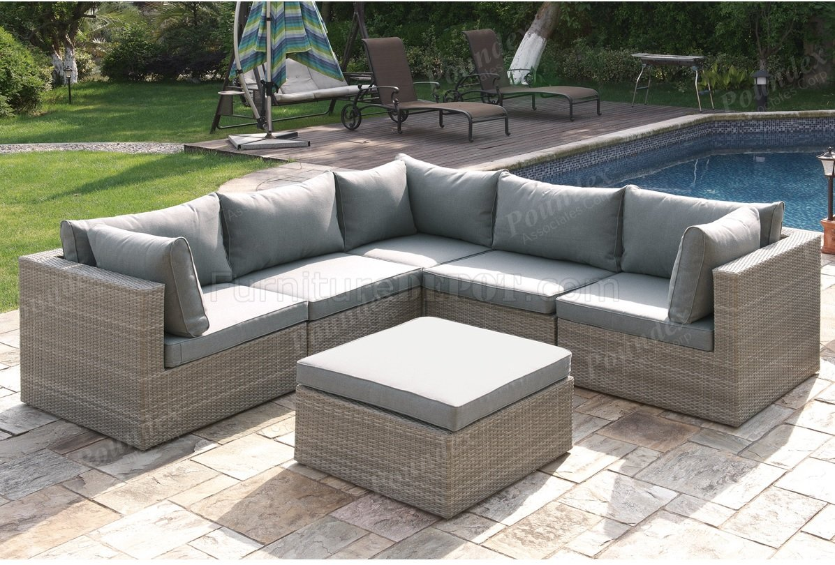 409 Outdoor Patio 6Pc Sectional Sofa Set by Poundex w/Options on Outdoor Loveseat Sets  id=87495