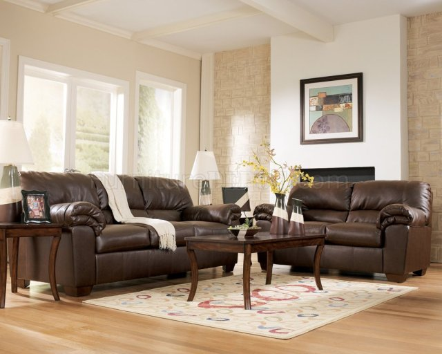 Brown Faux Leather Contemporary Living Room By Ashley 64501