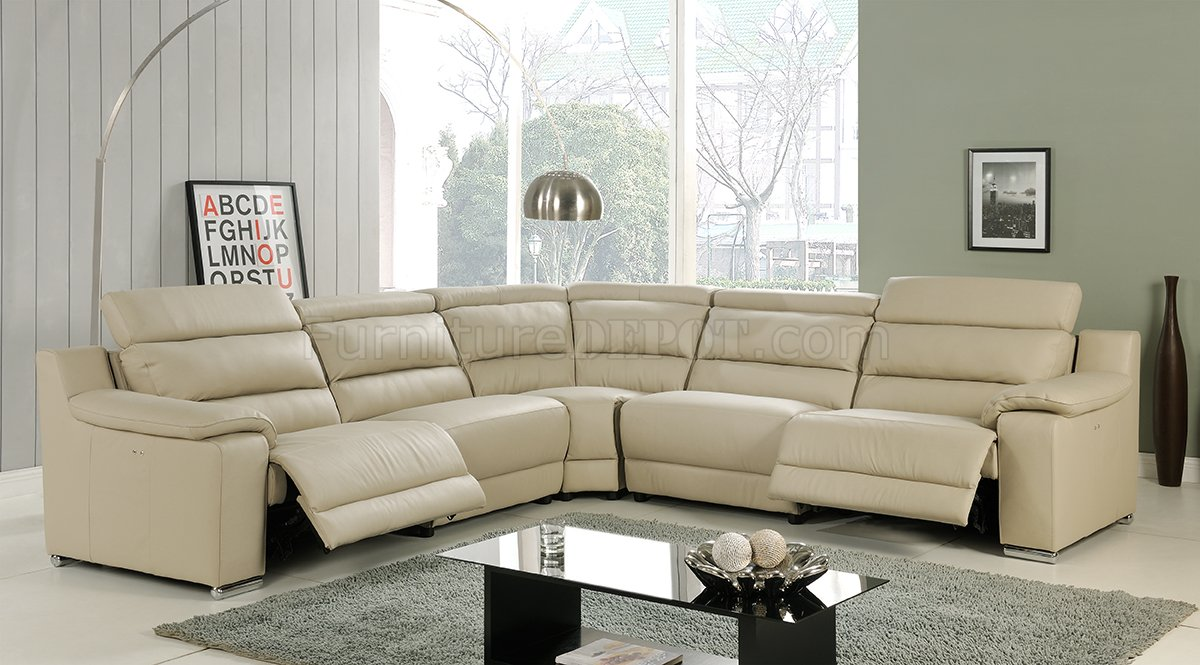 Elda Reclining Sectional Sofa In Beige Leather By At Home Usa