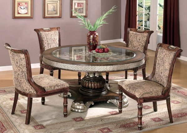 Two-Tone Traditional 5 Piece Dining Room Set w/Clear Glass ...