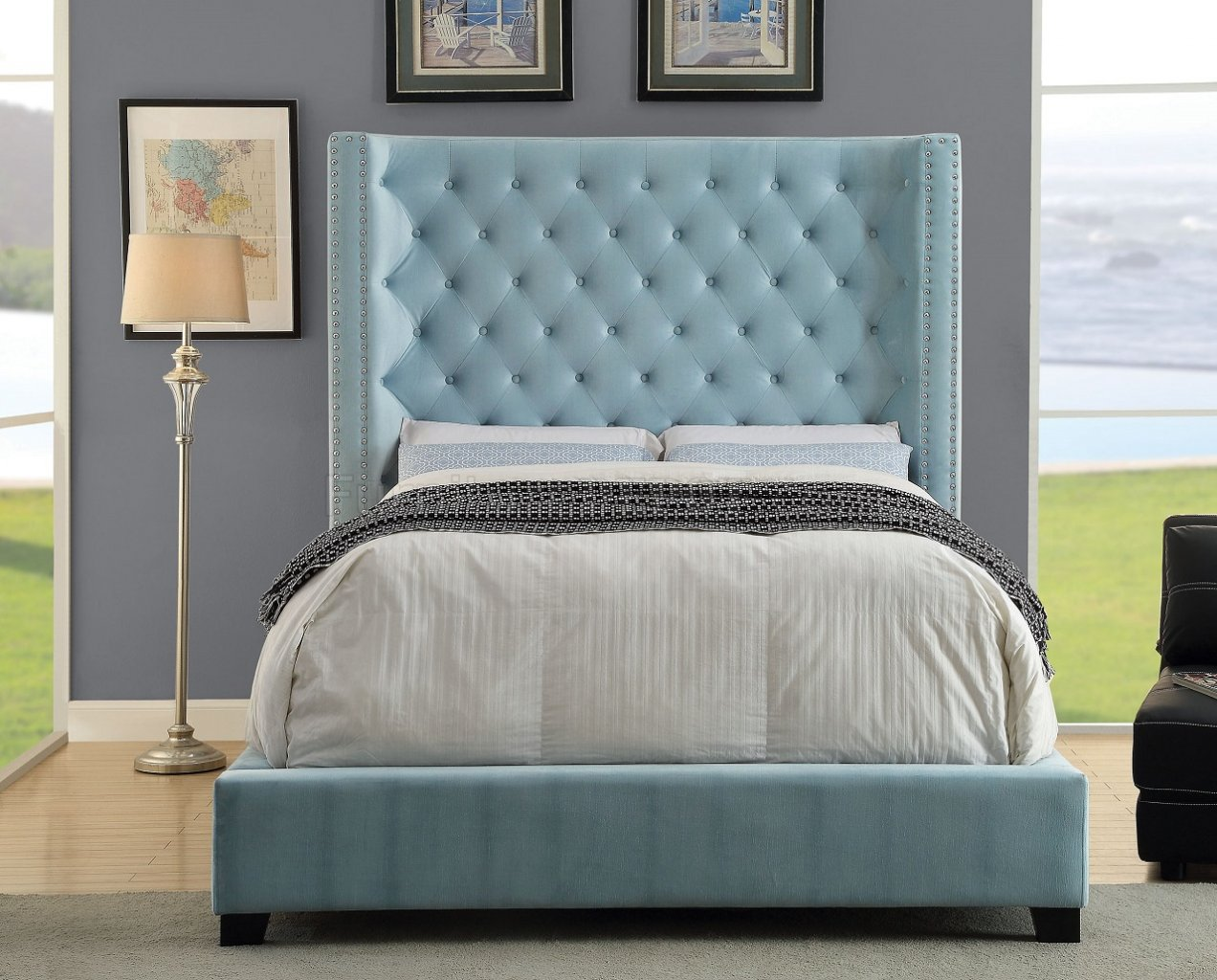 Mirabelle CM7679BL Upholstered Bed In Blue Fabric