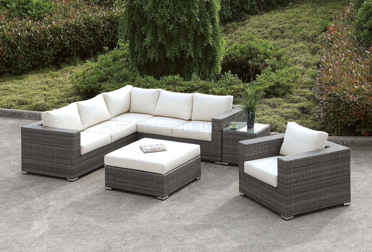 Somani CM-OS2128-10 Outdoor Patio L-Shaped Sectional Sofa Set on Outdoor Loveseat Sets  id=70637