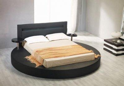Leatherette Round Platform Bed Palazzo Black