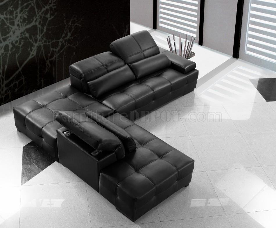 0668A Black Tufted Leather Modern Sectional Sofa