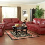 Burgundy Full Leather Traditional Living Room W Options