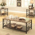 701695 Coffee Table 3pc Set By Coaster W Faux Marble Top