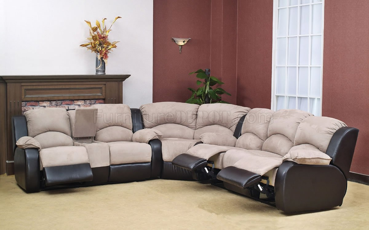 Two Tone Microsuede Bycast Modern Reclining Sectional Sofa