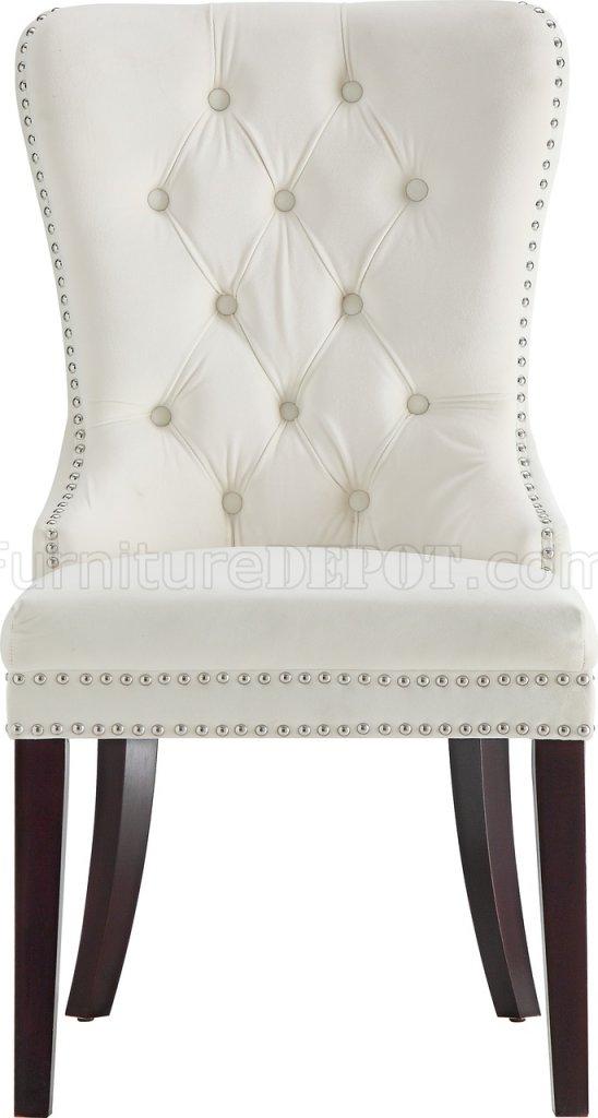 Nikki Dining Chair 740 Set Of 2 Cream Velvet Fabric By Meridian
