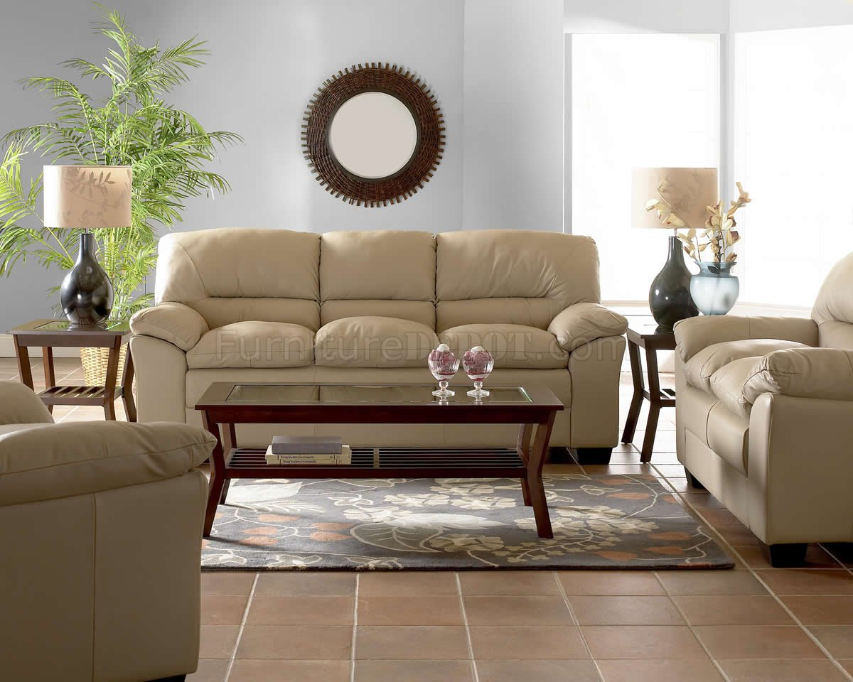 Beige Full Leather Modern Comfortable Living Room w/Pillow Top on Comfortable Living  id=80138