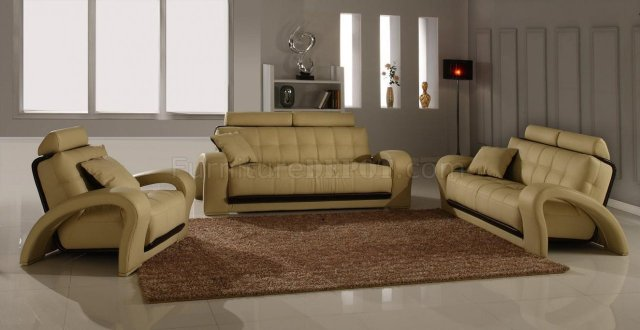 Leather Modern Living Room Set 4Pc Bentley Beige BN-B201