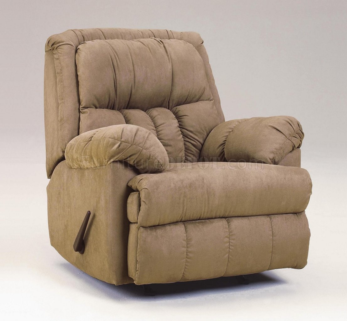 Mocha Plush Microfiber Contemporary Rocker Recliner