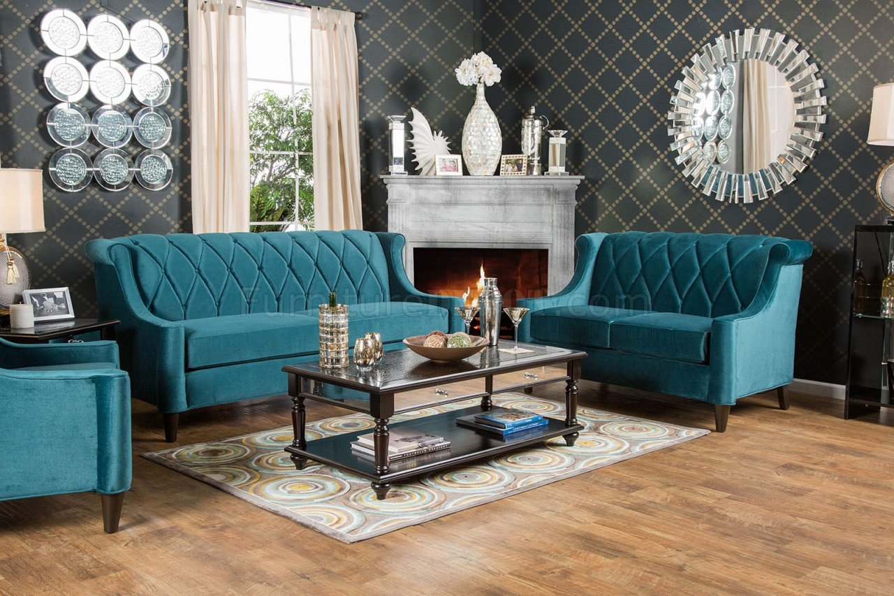 Limerick SM2882 Sofa In Dark Teal Fabric WOptions